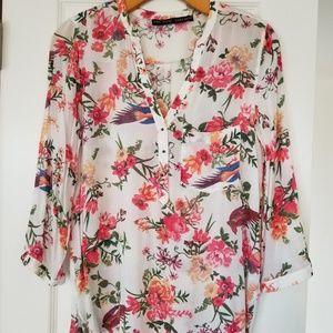 Zara 3/4 sleeve floral brass button down